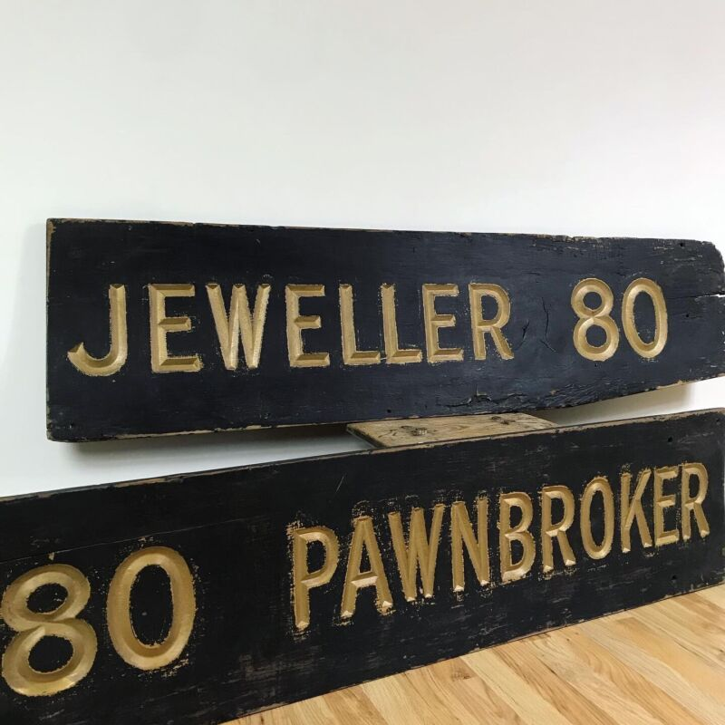 Edwardian Pawnbroker Shop Trade Sign Carved Gold Lettering Price Is For One!