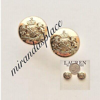 New Lauren Ralph Lauren Crest Gold-Tone Stud Earrings