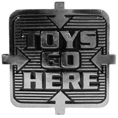 toys go here metal trailer hitch cover