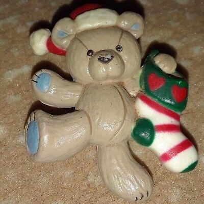 Vintage Christmas Teady Bear Pin