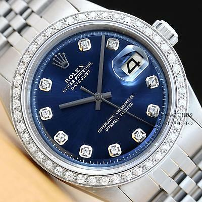 $3690.00 - MENS ROLEX DATEJUST 18K WHITE GOLD DIAMOND AND STAINLESS STEEL BLUE DIAL WATCH