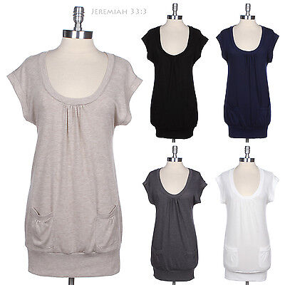 Scoop Neck Short Sleeve Ruched Long Tunic Sweater KNIT Top Front Pockets S M L