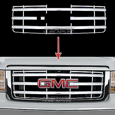 2007-2013 GMC Sierra 1500 CHROME Snap On Grille Overlay Full Grill Covers Insert Chrome Plated Insert