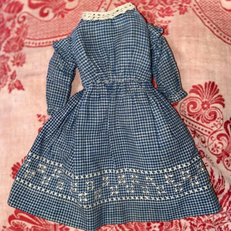 Antique Blue Gingham Applique Doll Dress