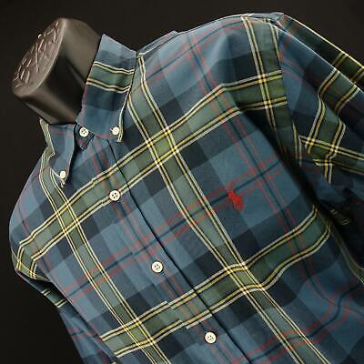Mens Polo Ralph Lauren Classic Fit Teal Plaids Oxford Golf Dress Shirt Size XL Mens Oxford Golf Shirt