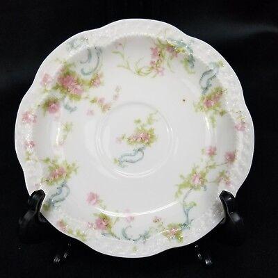 Saucer Flat Demitasse Cup The Princess byHAVILAND Pink Rose Floral Blue - Blue Flat Demitasse Cup