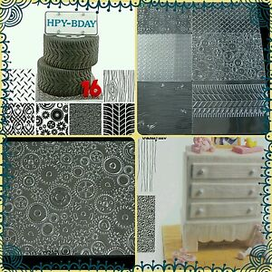 SALE!!! 6pcs Set Manly Texture Impression Mat Sheets Cakes Sugarcraft Tyre Gear