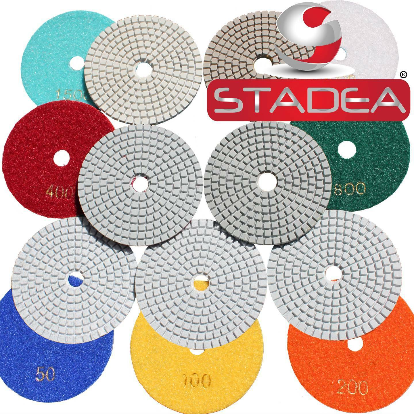 3/'/'// 4/'/' Diamond Polishing Pads Wet//Dry Granite Stone Concrete Marble Multi