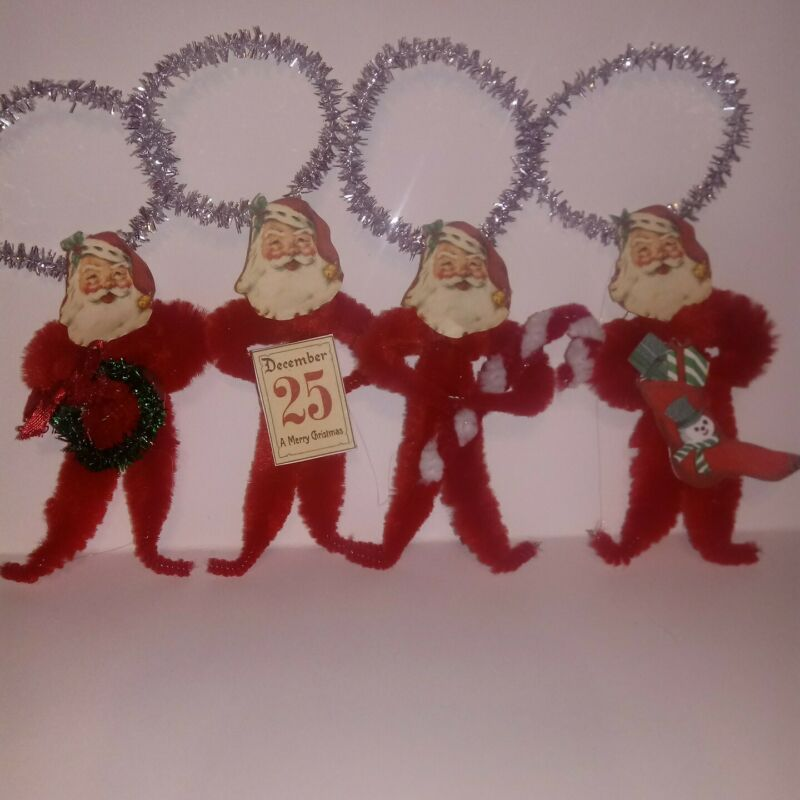 4 Vintage Style Christmas Santa  Chenille Ornaments Wreath Candy Cane Stocking