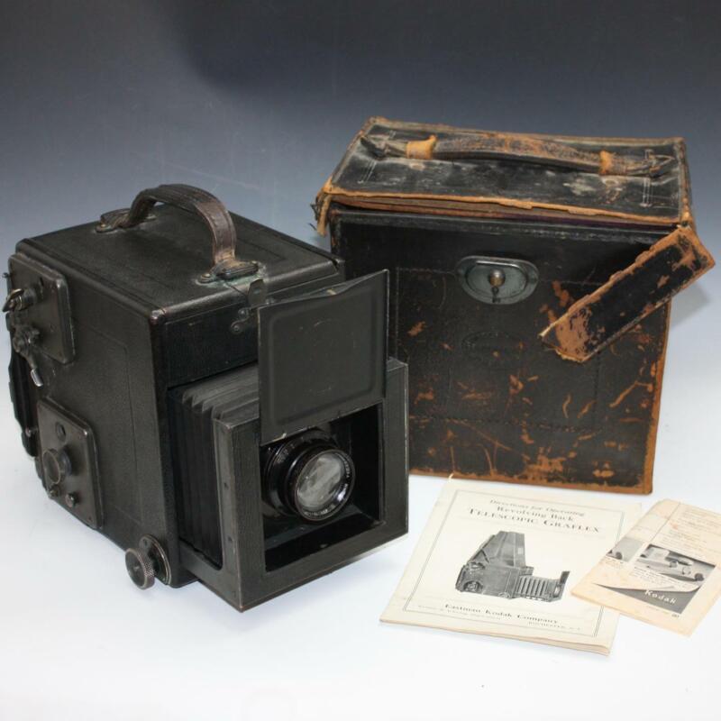 "Antique R.B. Tele Graflex 3 1/4"" x 4 1/4"" 3x4 Camera w/ B&L 4X5 Tessar Ic Lens"