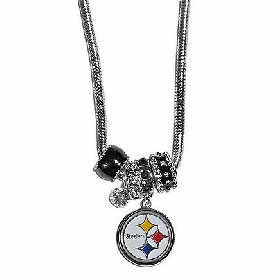 Pittsburgh Steelers Euro Bead Necklace NFL Football Licensed Rhinestones Charm](Football Bead Necklace)