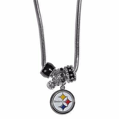 Pittsburgh Steelers Euro Bead Necklace NFL Football Licensed Rhinestones Charm](Football Bead Necklace)