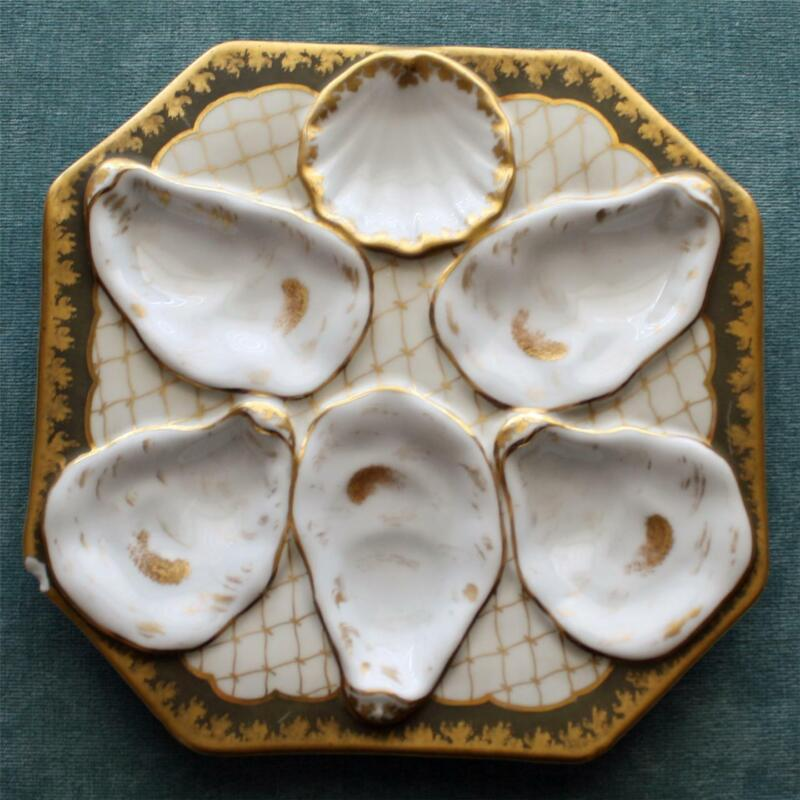 Antique Octagonal Oyster Plate, Green Border, Gold Netting