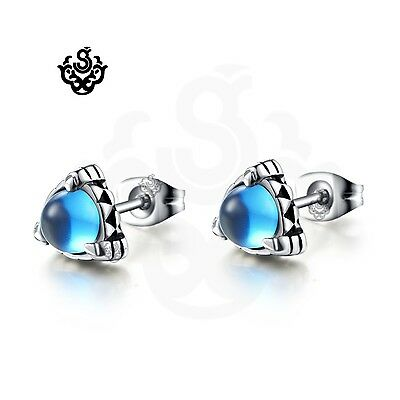 Silver studs blue cz claw earrings soft Gothic fashion stainless steel jewelry