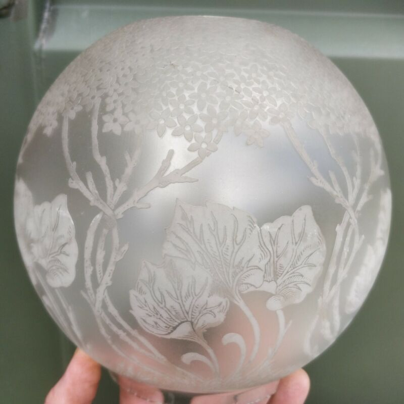 Unusual frosted oil lamp shade 4 inch fitter