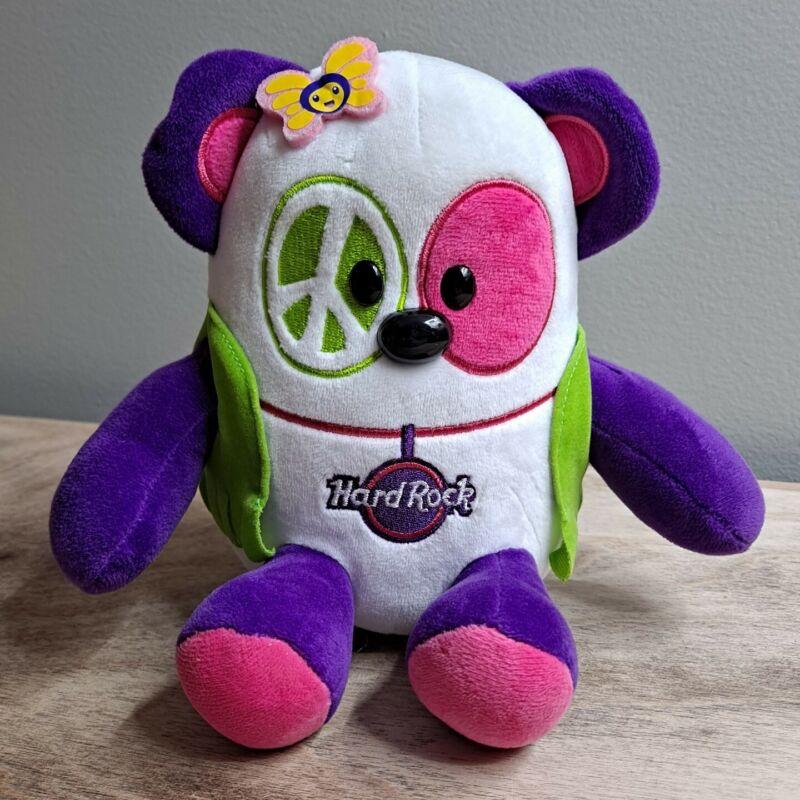 "Hard Rock Cafe Plush Panda Bear Hippie Peace Stuffed Animal Toy 6.5"" Pink Purple"