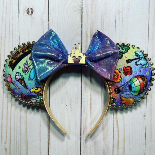 WDW 50th Anniversary Disney Mickey Minnie Mouse Ears Handmade Headband Epcot