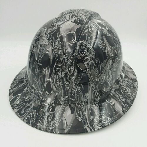 Hard Hat FULL BRIM custom hydro dipped , OSHA approved SKULLS N ROSES NEW 3