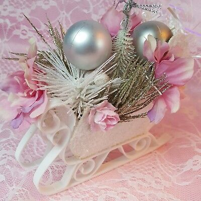 Shabby Pink Victorian Christmas Sleigh Ornament Chic Roses Glitter Handcrafted