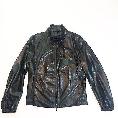 Giorgio Armani Leather Biker Jacket Sz 52 M