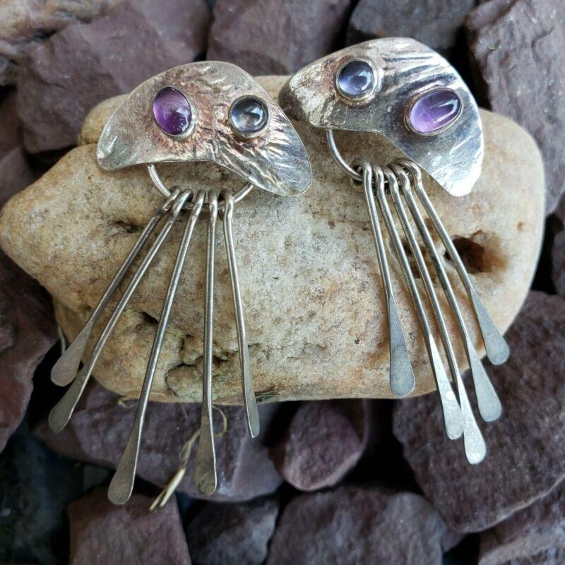 Vintage Sterling Silver Modernist Purple Amethyst Blue Gemstone Dangle Earrings