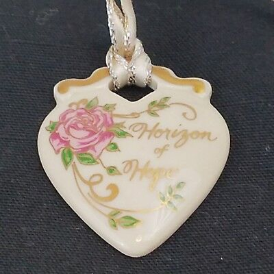 Longaberger Pottery Horizon Of Hope Tie-On Collectible Heart Pink Rose Ornament