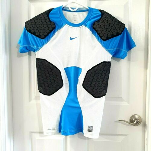 Nike Youth Size XL White Blue Black PRO COMBAT HYPERSTRONG 4-Pad Football Shirt