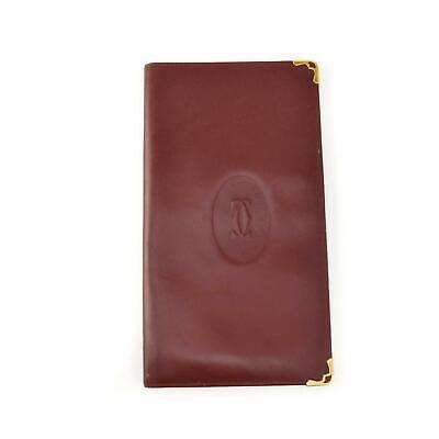 "CARTIER: Burgundy, Leather & ""Double C"" Logo, Long Folding Wallet (om)"