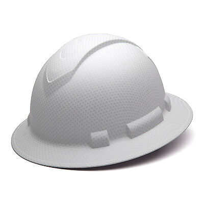 Pyramex Ridgeline Hard Hat White Graphite Pattern Full Brim Ratchet Hp54116