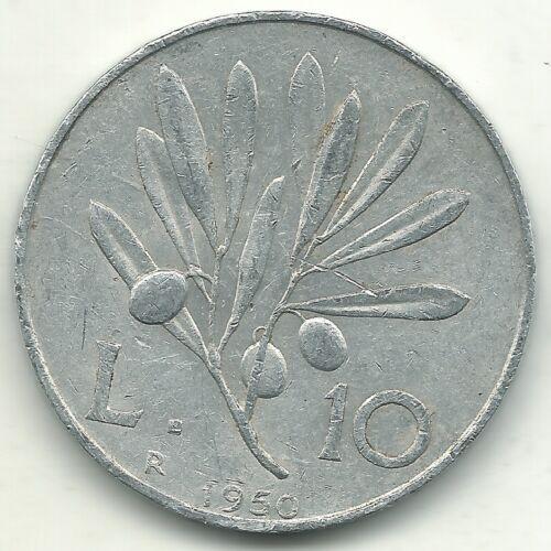 A HIGH GRADE XF 1950 R ITALY 10 LIRE PEGASUS COIN-MAY425