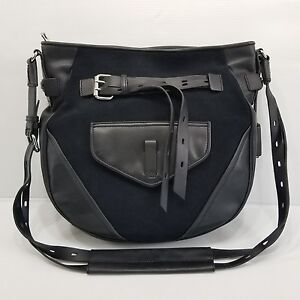 JOY GRYSON Marley Black Leather Convertible Crossbody Purse Long Strap Large