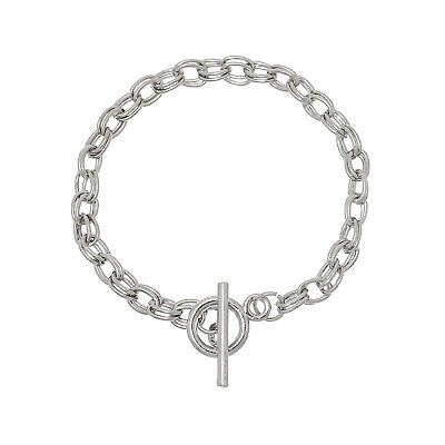 Double Chain Link Bracelet with Toggle Clasp Silver Tone  - -