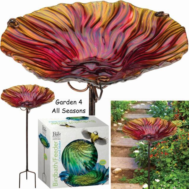 30cm RED Glass Bird Bath Feeder Hand Painted Creekwood Regal Art & Gift Boxed