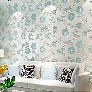 0.53M x 10M Floral Embossed 3D Textured Feature Art Wall Paper Wallpaper Roll