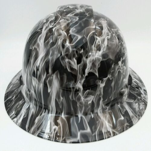 Hard Hat FULL BRIM custom hydro dipped , OSHA approved WHITE HOT FLAMES NEW