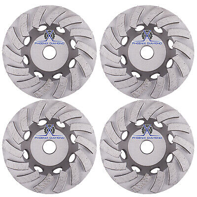 4pack 7 Turbo Diamond Grinding Cup Wheel For Concrete 24 Segs - 58-11 Threads