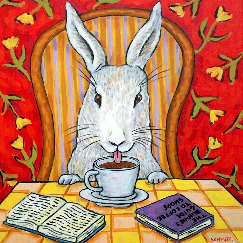 bunny in the bathroom rabbit ANIMAL art tile coaster gift