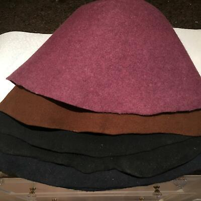 5 wool felt hoods /sauna cap  /MILLINERY WOOD HAT MAKING -