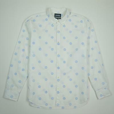 Bonobos Button Down Slim Fit Long Sleeve White Blue Shirt Men's Size XL
