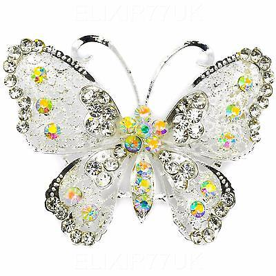 New Large Vintage Alloy Rhinestone Diamante Butterfly Brooch Broach Pin Wedding