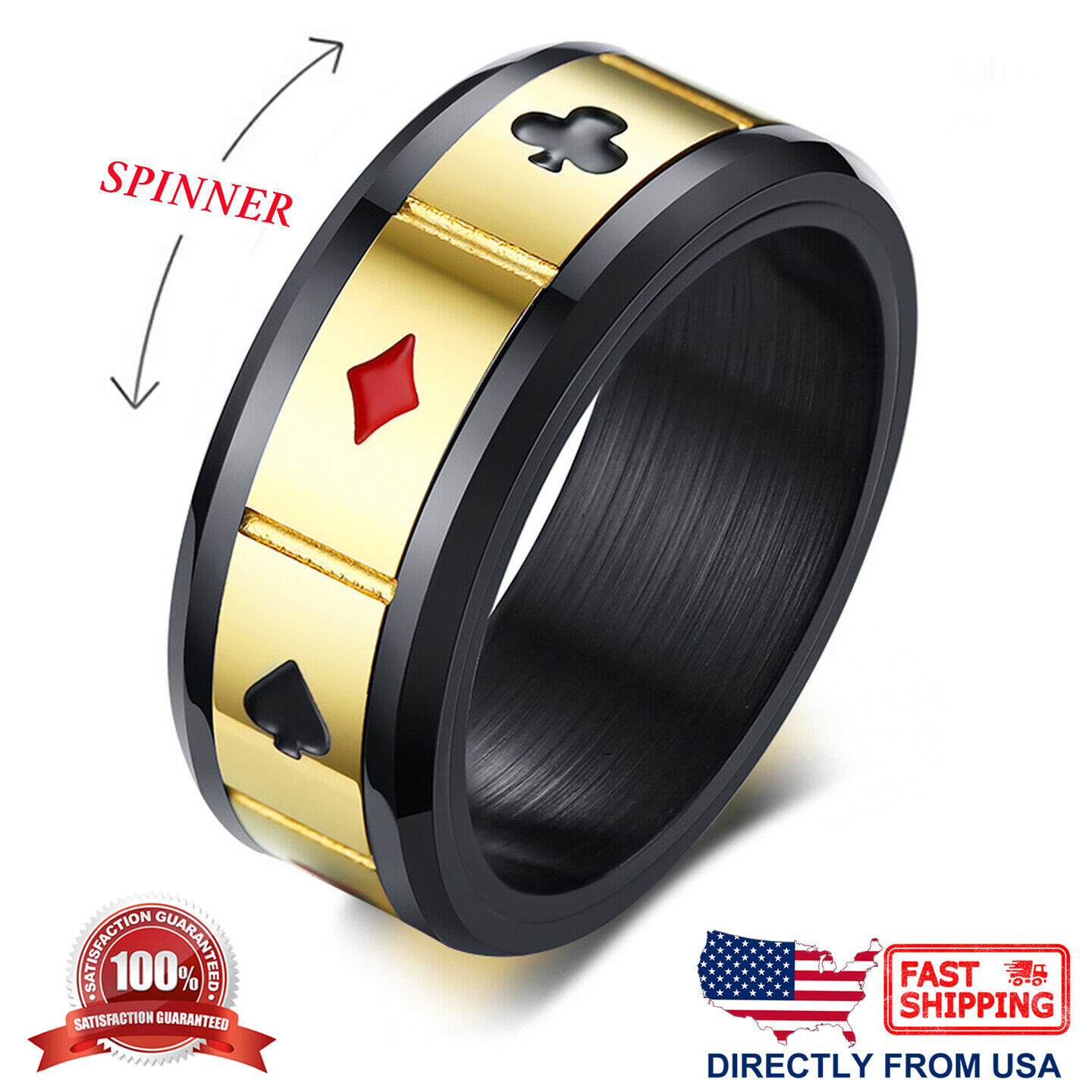 Men's Stainless Steel Poker Card Game Anxiety Calming Spinner Ring Jewelry & Watches