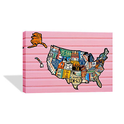 Decorative Canvas Print United States Plate Map Wall D Cor Ready To Hang