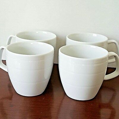 Dansk Precision Studio Levien set of 4 Coffee Mugs Pure White Embossed Rings EUC Dansk Studio
