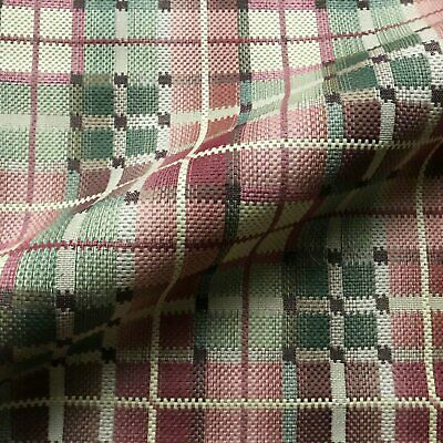 Green and Red Country Plaid Woven Upholstery Fabric by the Yard - -