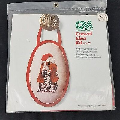 Columbia-Minerva Crewel Idea Kit Hush Puppies Basset Hound Santa Hat, Sign 7957