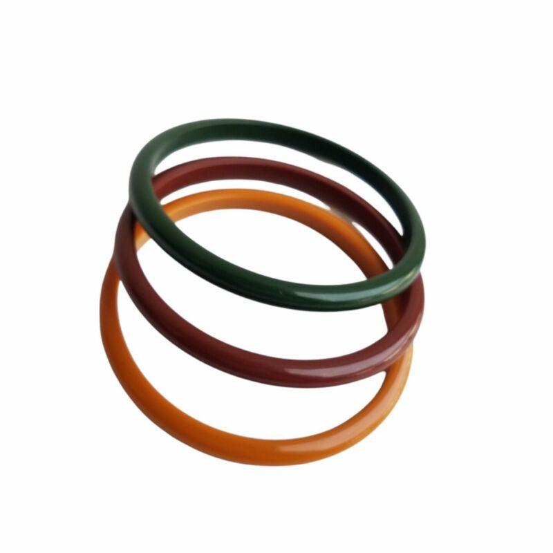 Retro Set of 3 Bangle Bracelets Fall Colors Earthy Colors Orange Green Brown