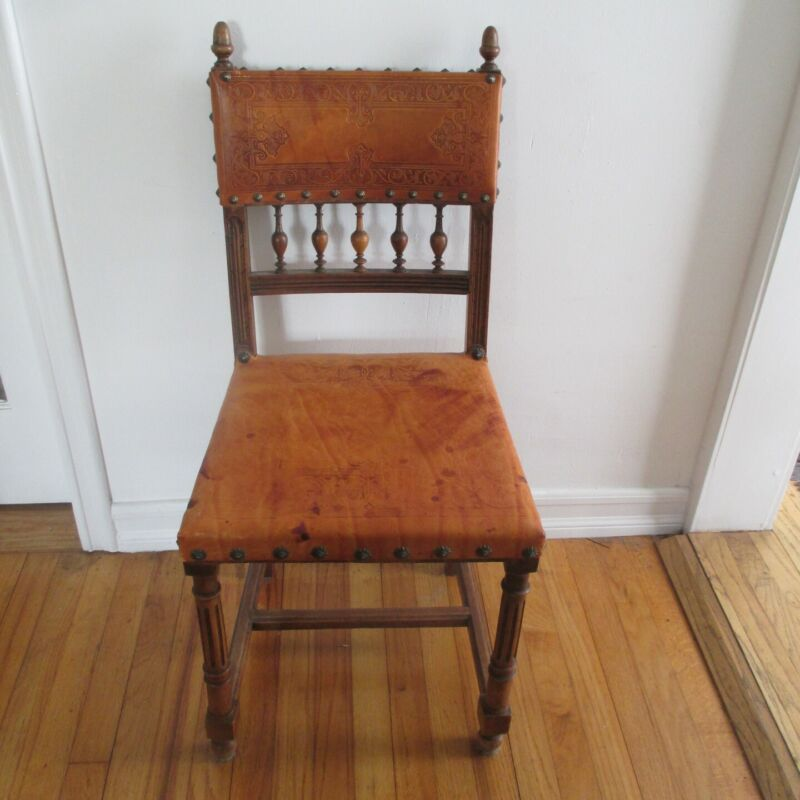 Set of 4 Antique Dining Room Chairs With Leather
