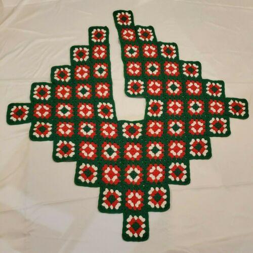 Vintage Crochet Christmas Tree Skirt Handmade Granny Square Red Green, 50 x 50