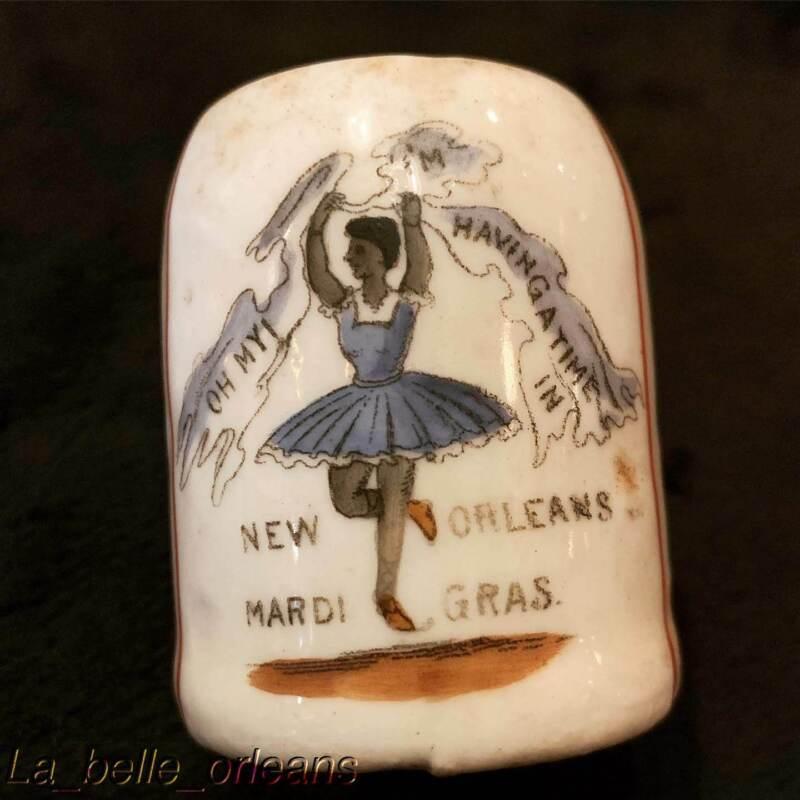 1890s NEW ORLEANS / MARDI GRAS PORCELAIN SOUVENIR CUP. BLACK AMERICANA. L@@k!!