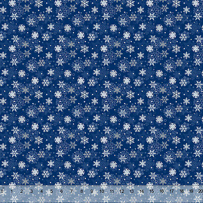 Winter Blue Snowflakes- Home Decor Fabric Polyester 62